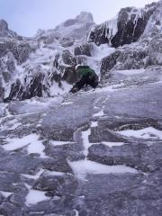 Lawrence Monckton on 1st pitch Pinnacle Buttress Direct, Ben Nevis