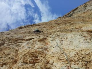 Jake onsighting the first 7b pitch