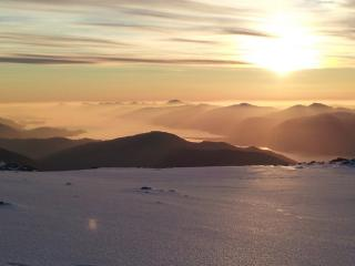 View of inversion over mountains to West of Ben Nevis after completing Tower Ridge