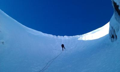 Peter abbing in to easy gully