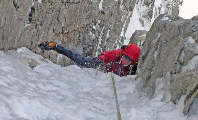 Pulling over the crux roof