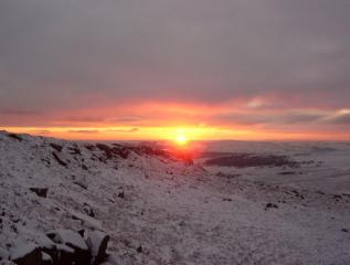 The sunset that finished a great day's bouldering in the Burbage Valley