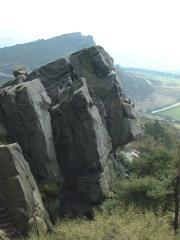 Andy Smith well poised on Via Dolorosa (VS 4c) at The Roaches