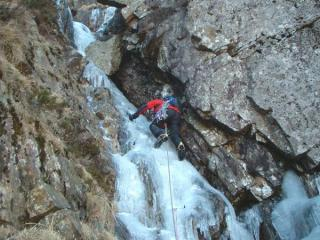 Andy Smith on the 2nd pitch of Step Gully (II/III), Greenhow End