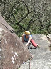 Al Leary seconding first ascent Fine and Mellow E1