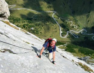 Looking down the long slab of Eterna Brigata VF, Marmolada, Dolemites