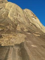 The first of many long pitches on a big route! Out of Africa in Madagascar.