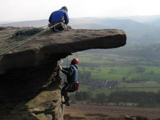 Al and John P on Shadow Wall, Bamford, 20th April 2013