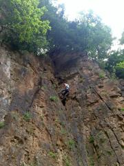 Taking Friends top roping. Abseil in and climb up
