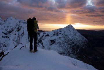 Sunset during a winter Cuillin Ridge Traverse