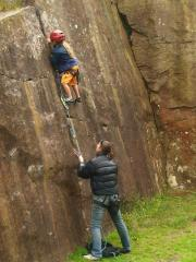 Kai Seth Robertson on his first onsight lead, aged 6.