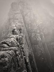 Rising out of Tower Gap whilst descending Tower Ridge during the first attempt at the Big Hex Challenge June 2013