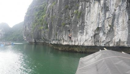 My first outing deep water soloing in Lan Ha bay just off Cat Ba Island, northern Vietnam