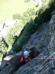 Belay ledge after pitch 3 of La Traversée