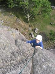 MarkA topping out on Falling Block Crack