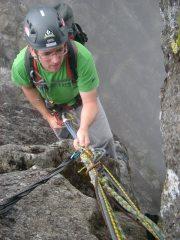 Abseiling off third pinnacle, Sgurr nan Gillean.
