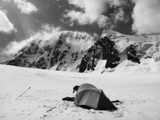 Advance basecamp below the unclimbed summit of Pik 5025m in the Djangart valley of Kyrgyzstan. We climbed it the following day.