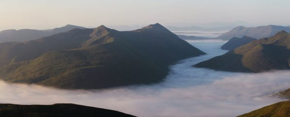 Sunrise over Glen Affric. From Sgurr nan Ceathreamhnan at sunrise in the July heatwave.