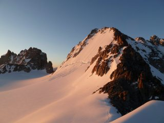North face of Tete Blanche at sunrise.