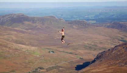 The 90m Highline, just below the summit of Tryfan.