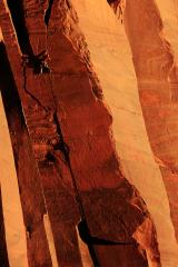 Climber changing cracks, Indian Creek, 2011