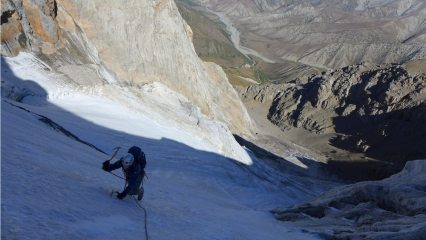 Part way up the ice fields during the first ascent of Mt Kamasu, Kyrgyzstan.