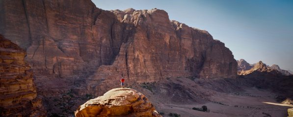 Eyeing up the routes on the east face of Jebel Rum
