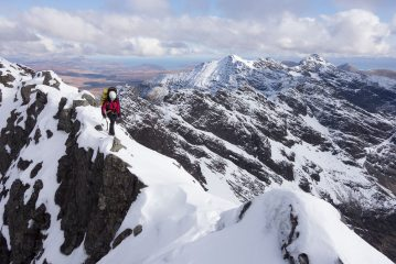 Fantastic views on the second day on a winter traverse of the Cuillin Ridge
