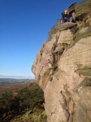 Beautiful autumn day on Right Route, pitch two.