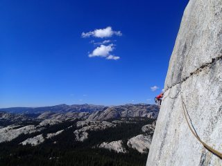 Midway through the crux on 'on the lamb' - Tuolomne meadows