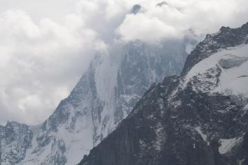 Les Grandes Jorasses with some of the Aiguille de la Rebublique in the foreground