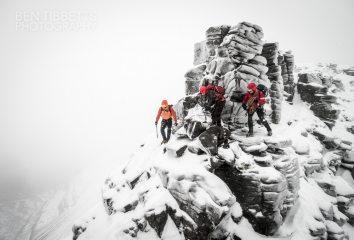 Martin Moran guiding Steve Ward and Gordon Speir on the Liathach Traverse, 30 Dec '13