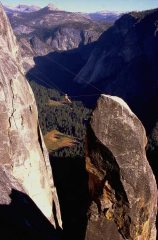 LankyPaddy on the Tyrolean Traverse (Lost Arrow Spire, Yosemite Valley)