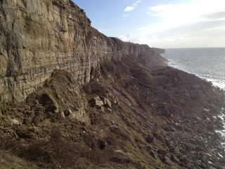 View south from Sharbutt's Quarry showing extent of landslide