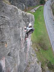Ally Smith on his new route, Chocoholic, E5 6a, Upper Wall, Avon Gorge.