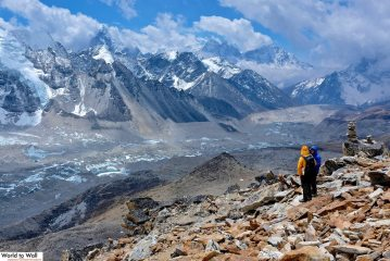 Looking down to the Khumbu glacier from Pumori base camp.