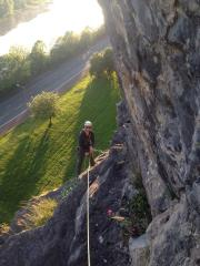 Shaun belaying on the forth pitch of Sleepwalk