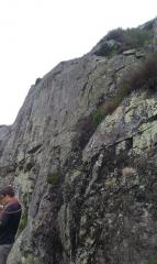 Chris contemplating leading either Diagonal Groove or Main Wall
