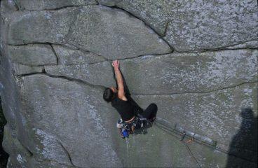 Geraldine Taylor on Fern Hill (E2 5c), Cratcliffe Tor