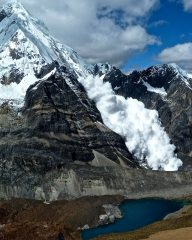 Monster avalanche on Sarapo, Cordillera Huayhuash, Peru.