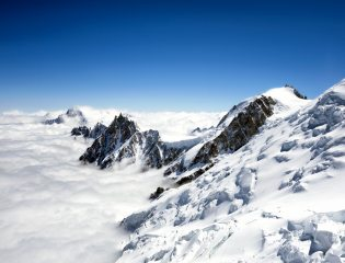 Looking towards Aiguille du Midi from the Gouter Hut