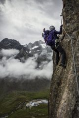 The very brave girlfriend on the Fernau Klettersteig - Stubai Valley, Austria