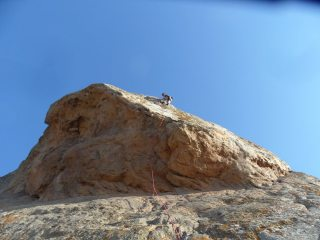 John Hunt near the belay after the monster roof on Kenourgia Zoi.