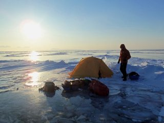 Setting up camp on Lake Baikal, Siberia