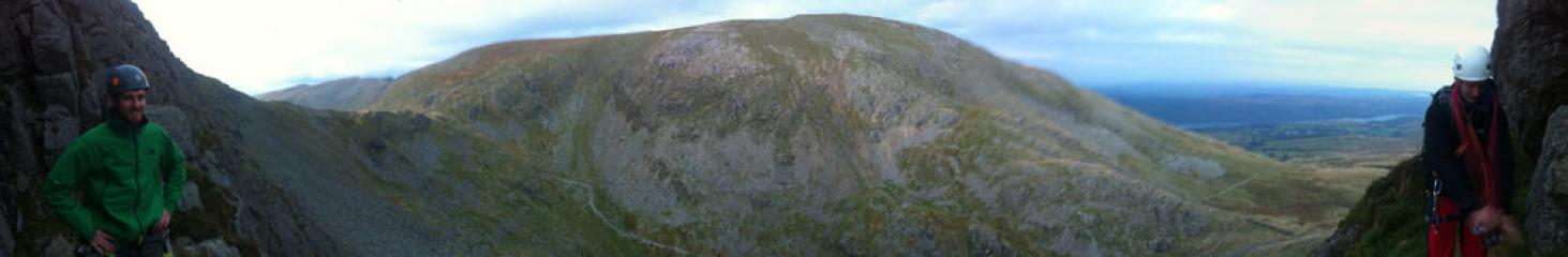 Slightly crummy mobile phone panorama from the third belay of D ordinary route