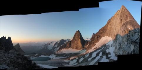 Sunrise over the Bugaboos, Approaching Bugaboo Spire's NE Ridge, with Snowpatch Spire behind