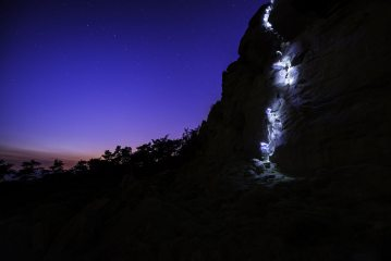 Climbing under the stars at the Roaches. Nothing like a midnight accent.