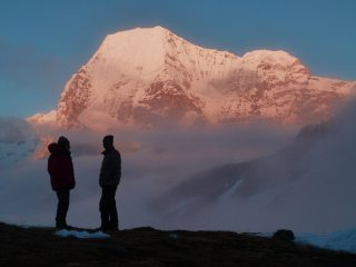 Discussing tomorrow's route. Rolwaling region, Nepal. View from Yalung Peak and Ramdung Base camp (5040m).
