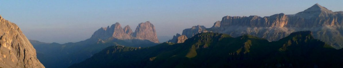 Sassolungo and the Sella ranges from the Approach to the West ridge of Marmolada