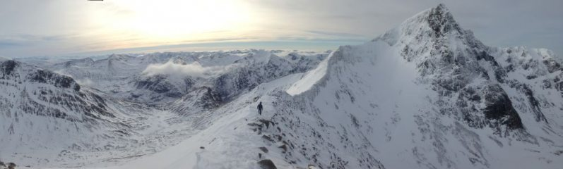 Carn Mor Dearg Arete with a cloudless summit of Ben Nevis.